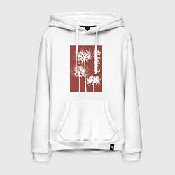Толстовка-худи хлопковая мужская Призрачный цветок цвета белый — фото 1
