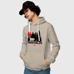 Толстовка-худи хлопковая мужская Sakhalin forever цвета миндальный — фото 2