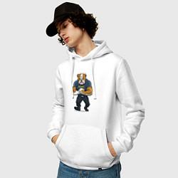 Толстовка-худи хлопковая мужская ПИТБУЛЬ SECURITY Z цвета белый — фото 2