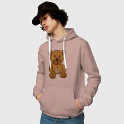 Толстовка-худи хлопковая мужская Плюшевый медведь цвета пыльно-розовый — фото 2