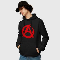 Толстовка-худи хлопковая мужская Символ анархии цвета черный — фото 2