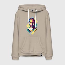 Толстовка-худи хлопковая мужская Steve Jobs Art цвета миндальный — фото 1
