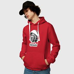 Толстовка-худи хлопковая мужская Гагарин: поехали цвета красный — фото 2