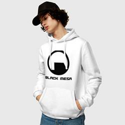 Толстовка-худи хлопковая мужская Black Mesa: Logo цвета белый — фото 2