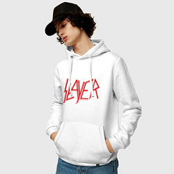 Толстовка-худи хлопковая мужская Slayer цвета белый — фото 2