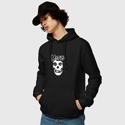 Толстовка-худи хлопковая мужская Отбросы цвета черный — фото 2