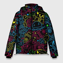 Куртка зимняя мужская КОСМИЧЕСКИЙ НЕОН цвета 3D-черный — фото 1