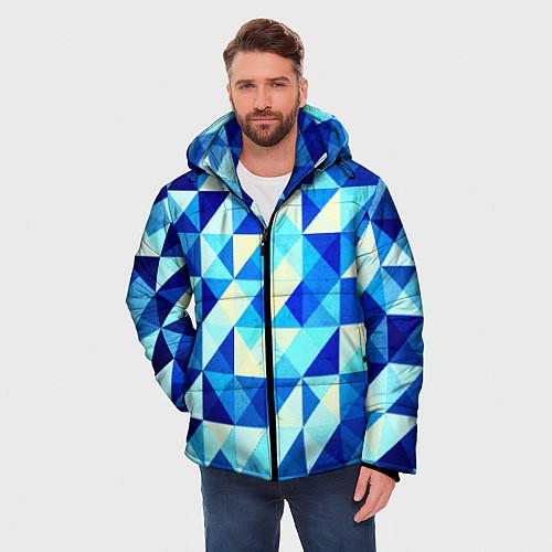 Мужская зимняя куртка Синяя геометрия / 3D-Черный – фото 3