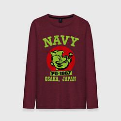 Лонгслив хлопковый мужской Navy: Po-1967 цвета меланж-бордовый — фото 1
