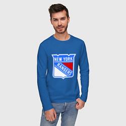 Лонгслив хлопковый мужской New York Rangers цвета синий — фото 2