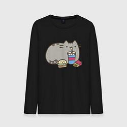 Лонгслив хлопковый мужской Котик с бургером и фри цвета черный — фото 1
