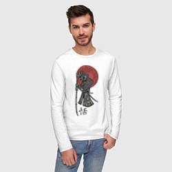 Лонгслив хлопковый мужской Самурай цвета белый — фото 2
