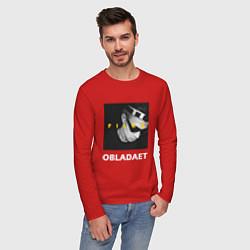 Лонгслив хлопковый мужской Obladaet Files цвета красный — фото 2