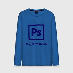 Лонгслив хлопковый мужской Photoshop цвета синий — фото 1