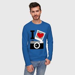 Лонгслив хлопковый мужской Я люблю фото цвета синий — фото 2