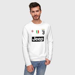 Лонгслив хлопковый мужской FC Juventus цвета белый — фото 2