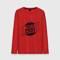 Лонгслив хлопковый мужской Made in 1991 цвета красный — фото 1