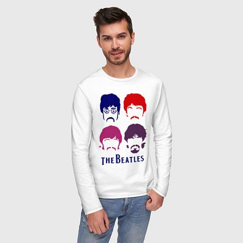 Мужской лонгслив The Beatles faces / Белый – фото 3