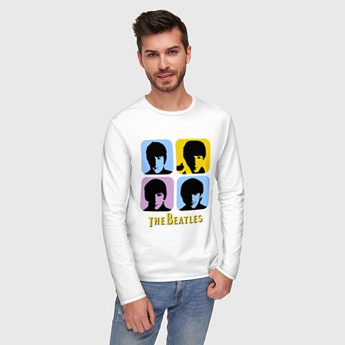 Мужской лонгслив The Beatles: pop-art / Белый – фото 3