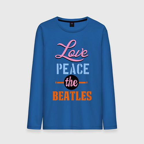 Мужской лонгслив Love peace the Beatles / Синий – фото 1