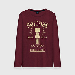 Лонгслив хлопковый мужской Foo Fighters: Patience & Grace цвета меланж-бордовый — фото 1