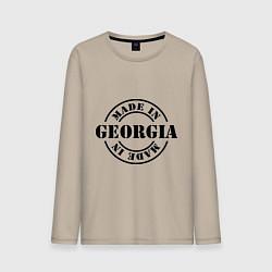 Лонгслив хлопковый мужской Made in Georgia (сделано в Грузии) цвета миндальный — фото 1