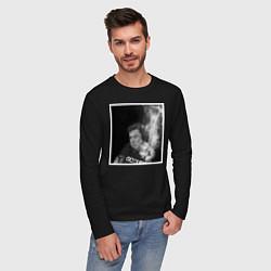 Лонгслив хлопковый мужской MASK цвета черный — фото 2