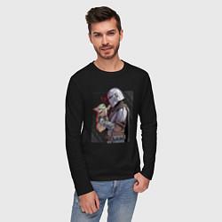 Лонгслив хлопковый мужской Мандалорец и Дитя цвета черный — фото 2