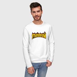 Лонгслив хлопковый мужской ETHEREUM x THRASHER цвета белый — фото 2