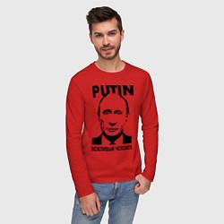 Лонгслив хлопковый мужской Вежливый человек цвета красный — фото 2