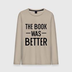 Лонгслив хлопковый мужской Книга была лучше цвета миндальный — фото 1