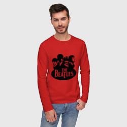 Лонгслив хлопковый мужской The Beatles Band цвета красный — фото 2