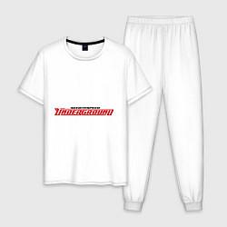 Пижама хлопковая мужская NFS Undeground цвета белый — фото 1