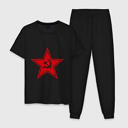 Пижама хлопковая мужская Звезда СССР цвета черный — фото 1