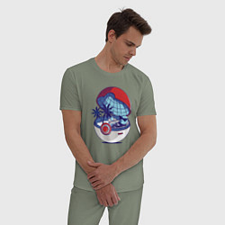 Пижама хлопковая мужская Покеболл 1 цвета авокадо — фото 2