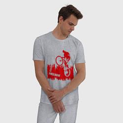 Пижама хлопковая мужская Велосипед цвета меланж — фото 2
