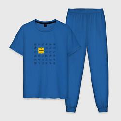 Пижама хлопковая мужская Лучший строитель цвета синий — фото 1