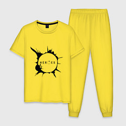 Пижама хлопковая мужская Heroes spot цвета желтый — фото 1