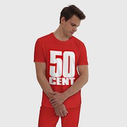Пижама хлопковая мужская 50 cent цвета красный — фото 2