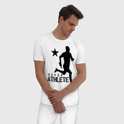 Пижама хлопковая мужская Лёгкая атлетика цвета белый — фото 2