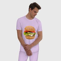Пижама хлопковая мужская Гамбургер цвета лаванда — фото 2