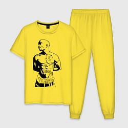 Пижама хлопковая мужская 2pac цвета желтый — фото 1