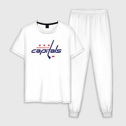 Пижама хлопковая мужская Washington Capitals цвета белый — фото 1
