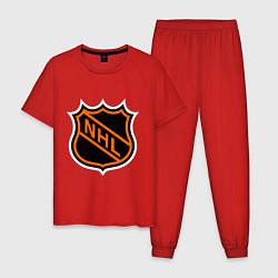 Пижама хлопковая мужская NHL цвета красный — фото 1