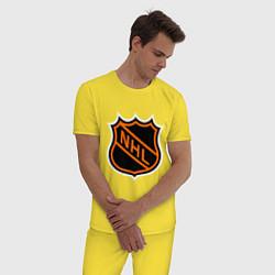 Пижама хлопковая мужская NHL цвета желтый — фото 2