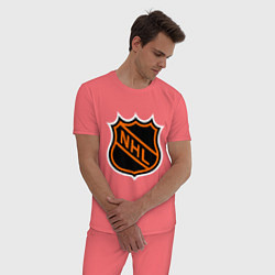 Пижама хлопковая мужская NHL цвета коралловый — фото 2