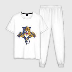 Пижама хлопковая мужская Florida Panthers цвета белый — фото 1