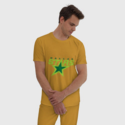 Пижама хлопковая мужская Dallas Stars цвета горчичный — фото 2