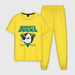 Пижама хлопковая мужская Anaheim Mighty Ducks цвета желтый — фото 1
