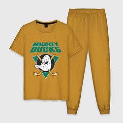Пижама хлопковая мужская Anaheim Mighty Ducks цвета горчичный — фото 1